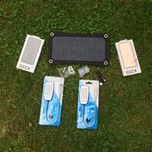 2) Weekend Camping 6.5w Solar, 2 x Power Banks, 2 x LED light, USB car charger, Special Offer £20 Saving