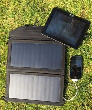 MSC 12W Solar panel charging Tablet and iPhone