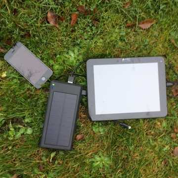 Camping + Quick Charge Solar Charger 5v/9v/12v dual USB 12000mAh (4 + charges)