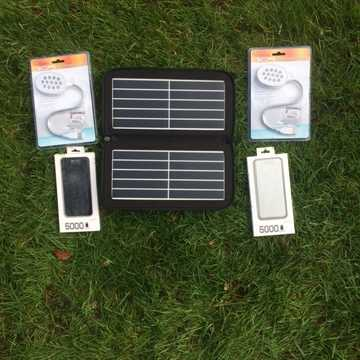 2) Weekend Camping 10w Solar, 2 x Power Banks, 2 x LED light, usb car charger, Special Offer £30 Saving