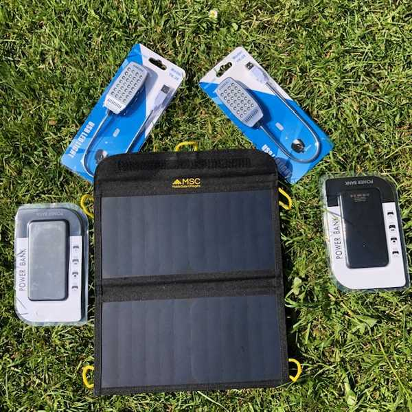 MSC Weekend Camping 13w Solar, 2 x Power Banks, 2 x LED light, £15 Saving